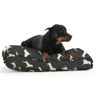 DogSack Rectangle Memory Foam Black/ White Dog Print Twill Pet Bed