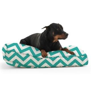 DogSack Rectangle Memory Foam Turquoise/ White Chevron Stripe Twill Pet Bed