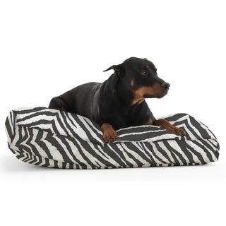 DogSack Rectangle Memory Foam Black/ White Zebra Stripe Twill Pet Bed