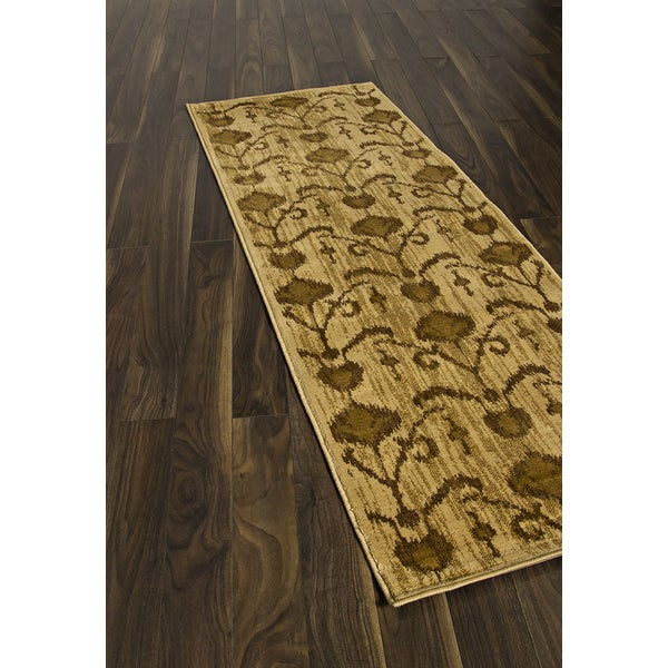 Ikat Cappuccino Light Brown Abstract Rug Runner (2'8 x 7'8)