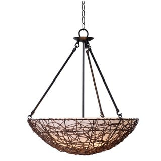 Agen 3-light Rattan Finish Pendant