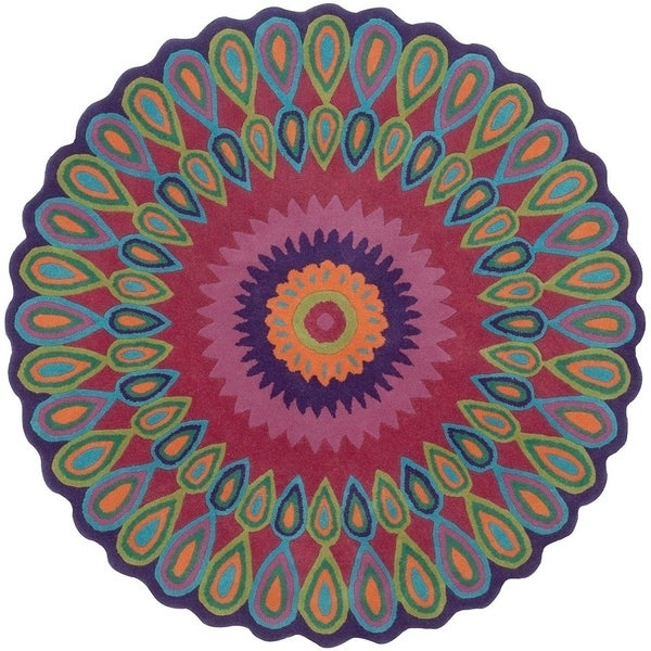 LNR Home Vibrance Multi-colored Floral Wool Rug - 5' x 5' 11675523