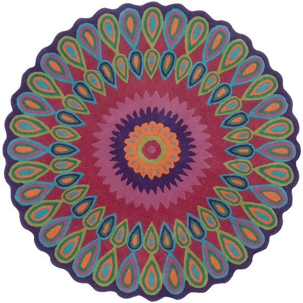 LNR Home Vibrance Multi-colored Floral Wool Rug (5' Round) 11675523