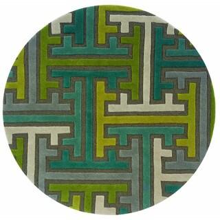 LNR Home Vibrance Miami Brown Geometric Wool Rug (5' Round)