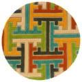 Hand-tufted Geometric Beige Wool Rug (7'9 Round)