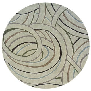 LNR Home Cosmos Beige Geometric Area Rug (3' Round)