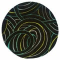 Hand-tufted Miami Geometric Charcoal Wool Rug (7'9 Round)