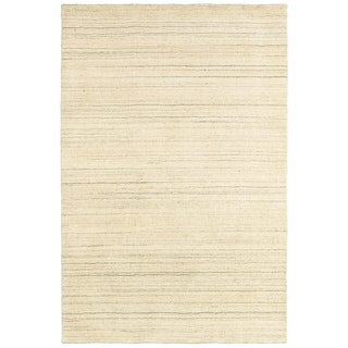 Hand-knotted Abstract Natural/ Beige Wool Rug (8' x 10')