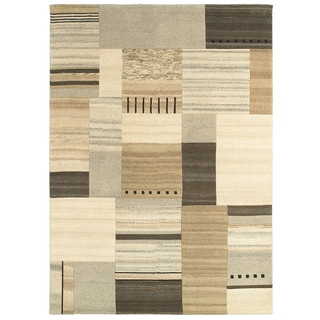 Hand-knotted Contemporary Abstract-pattern Natural/ Beige Wool Rug (8' x 10')