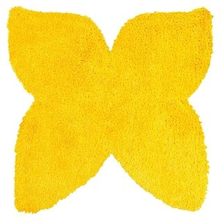 LNR Home Senses Yellow Butterfly Shaped Shag Rug (5' x 5')
