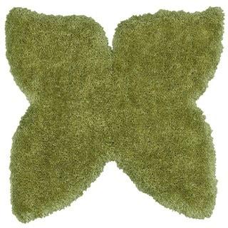 LNR Home Senses Green Butterfly Shaped Shag Rug (5' x 5')