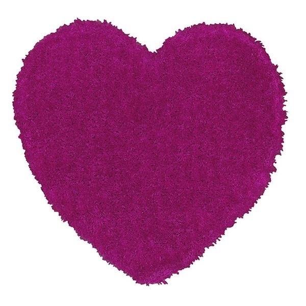 LNR Home Senses Pink Heart Shaped Shag Rug (4' x 4')