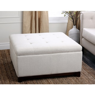 Abbyson Living Florence Tufted Square Fabric Storage Ottoman