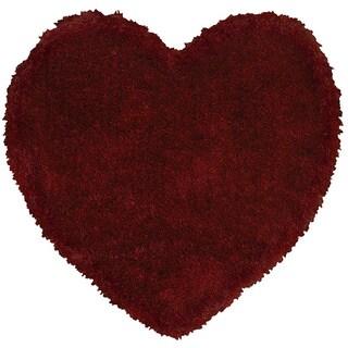 LNR Home Senses Red Heart Shaped Shag Rug (4' x 4')