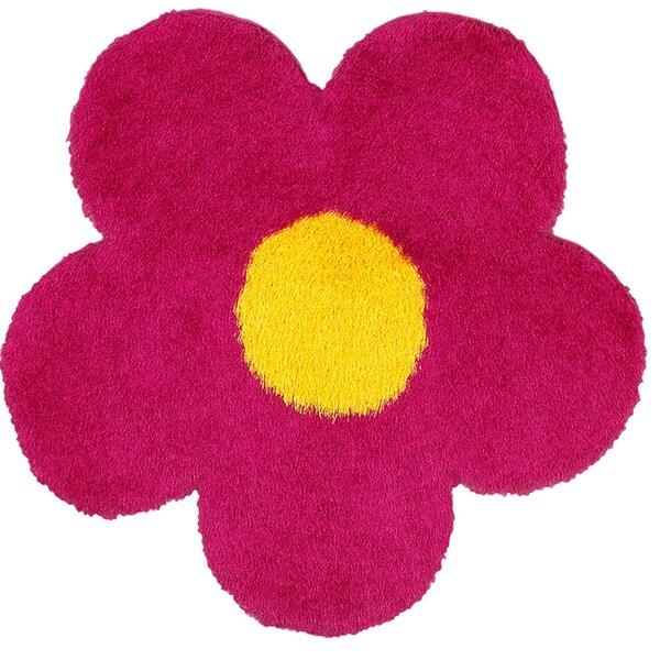 LNR Home Senses Pink/ Yellow Flower Shape Shag Rug (4' x 4')