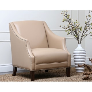 Abbyson Living Madison Camel Bycast Leather Nailhead-trim Armchair