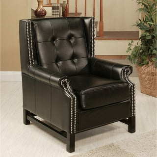 Abbyson Living Jackson Black Bycast Leather Nailhead-trim Armchair