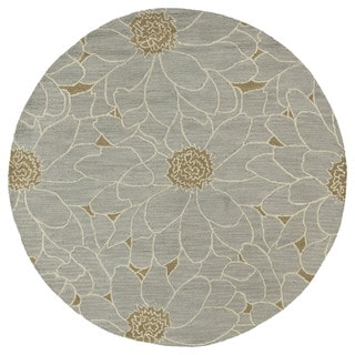Hand-tufted Zoe Grey Floral Wool Rug (7'9 Round)