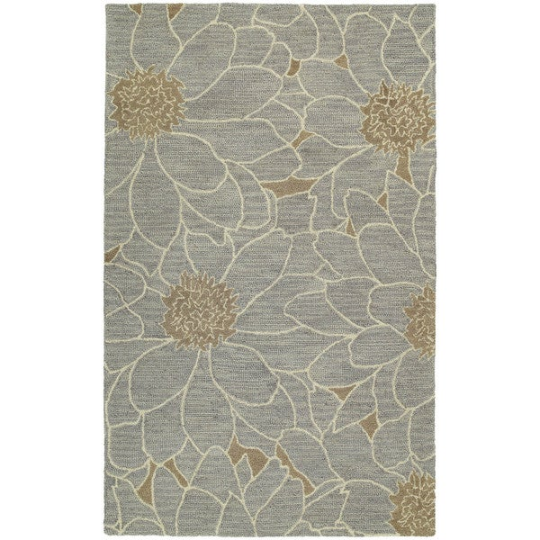 Hand-tufted Zoe Grey Floral Wool Rug (8' x 10')