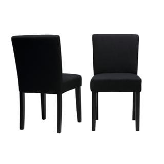 Cortesi Home Alena Black Linen Low Back Dining Chairs (Set of 2)