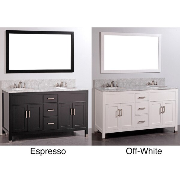 Mable top 61 inch double sink bathroom vanity and matching mirror 15641221 for 65 inch double bathroom vanity