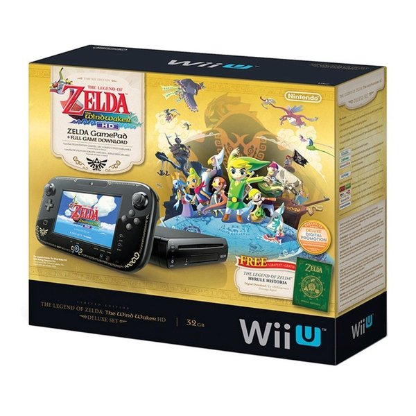 Nintendo Wii U Legend of Zelda Windwaker HD Deluxe Set Bundle