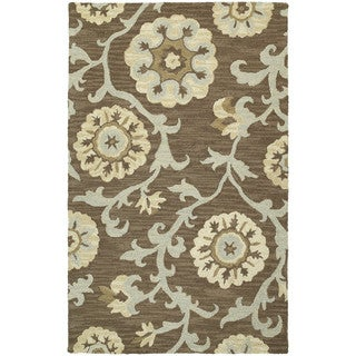 Zoe Light Brown Suzani Hand-tufted Wool Rug (8' x 10')