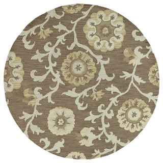 Zoe Light Brown Suzani Hand-tufted Wool Rug (7'9 Round)