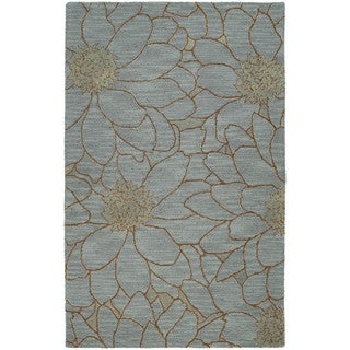 Zoe Blue Flower Hand-tufted Wool Rug (8' x 10')