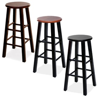 Round Wood Bar Stools (Set of 2)