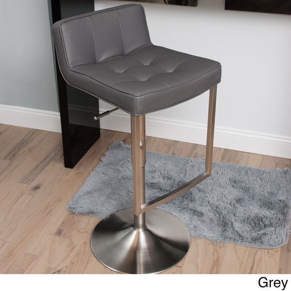 Looper Brushed Stainless Steel Tufted Low-back Adjustable-height Swivel Stool
