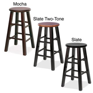 Round Wood Counter Stools (Set of 2)