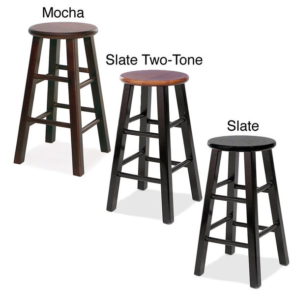 Round Wood Counter Stools (Set of 2)