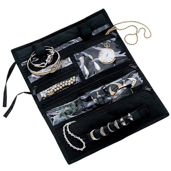 Black Fold-up Multi-pocket Travel Jewelry Roll