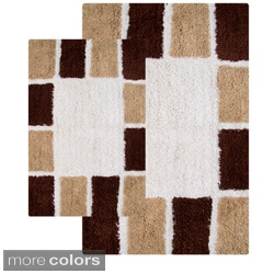 2-piece Mosaic Tiles Cotton Bath Rug Set