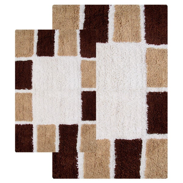 Mosaic tiles cotton 2 piece bath rug set include 49 for How to get hair dye off bathroom tiles