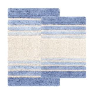 Tuxedo Stripe Cotton 2-piece Bath Rug Set - Includes BONUS Step Out Mat