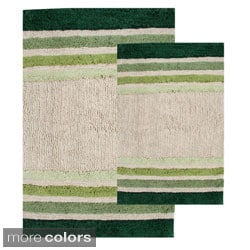 Tuxedo Stripe Cotton 2-piece Bath Rug Set