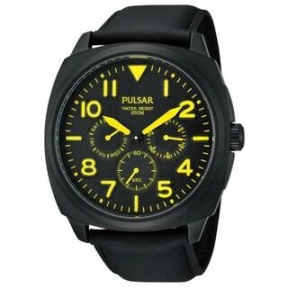 Pulsar Men's Quartz Black Dial Yellow Accent Watch - PP6077