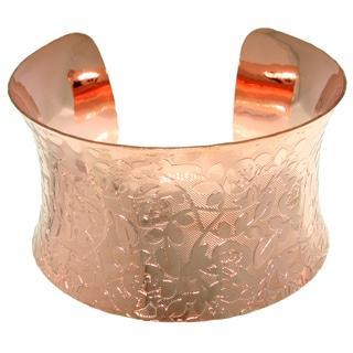 CGC Coppertone Steel Flared Bangle Floral Bracelet