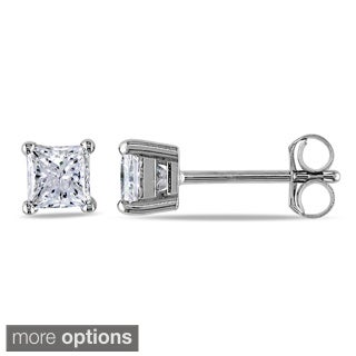 Miadora 14k Gold 3/4ct TDW Princess-cut Diamond Stud Earrings (J-K, I2-I3)