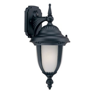 Monterey Energy Star Collection Wall-mount 1-light Outdoor Matte-black Frosted-glass Light Fixture