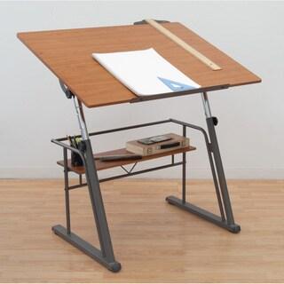 Studio Design Zenith Pewter/ Teak Drafting Table