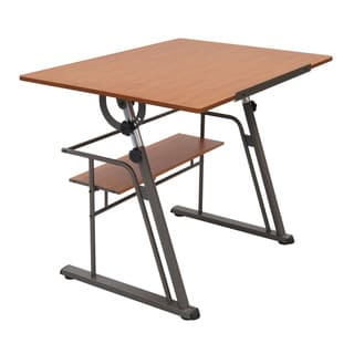 Studio Design Zenith Pewter/ Teak Drafting Table