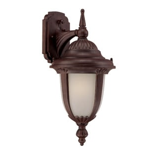 Monterey Energy Star Collection Wall-mount 1-light Outdoor Burled-walnut Light Fixture with Glass Shade