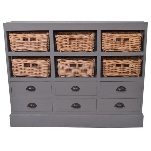 Decorative Grey Rustic Nantucket Storage Cabinet