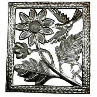 Handmade Single Flower and Bird Metal Wall Art -11 by 12 Inches (Haiti)