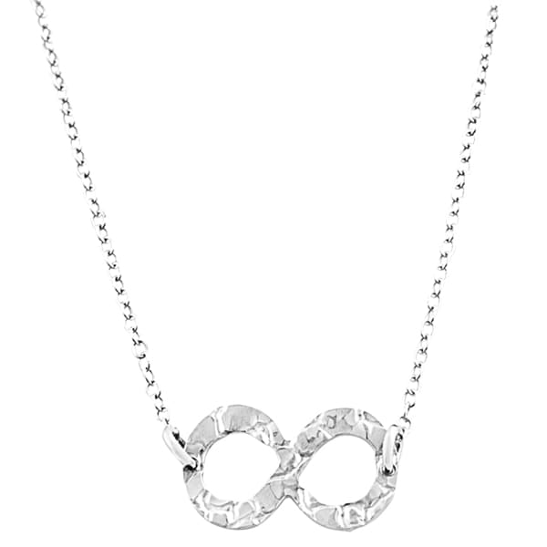 Fremada Sterling Silver Hammered Infinity Necklace