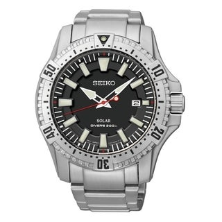 SEIKO Men's Solar Grey Dial Stainless Steel Diver's Watch - SNE279