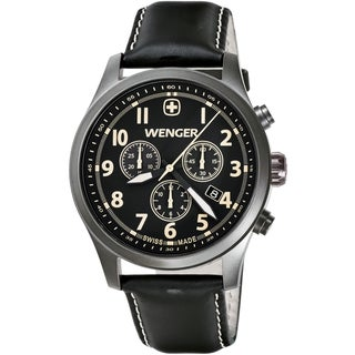 Wenger Men's TerraGraph Chrono PVD Black Dial Black Leather Watch  0543.104